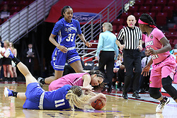 NORMAL, IL - February 10: Katrina Beck and Krystal Rice wrestle for possession during a college women's basketball Play4Kay game between the ISU Redbirds and the Indiana State Sycamores on February 10 2019 at Redbird Arena in Normal, IL. (Photo by Alan Look)