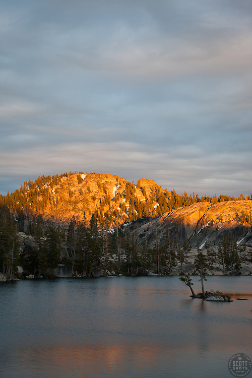 """""""Paradise Lake Sunset 4"""" - Photograph of Paradise Lake in the Tahoe National Forest taken at sunset."""
