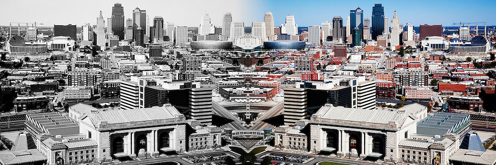 Symmetrical Kansas City Skyline via the use of Photoshop.