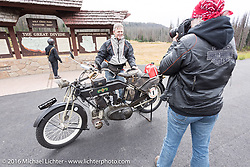 Hans Coertse of South Africa with his 976c twin cylinder 1913 Matchless Model 5B Motorcycle getting photographed by Felicia Morgan at the top of Wolf Creek pass during the Motorcycle Cannonball Race of the Century. Stage-10 ride from Pueblo, CO to Durango, CO. USA. Tuesday September 20, 2016. Photography ©2016 Michael Lichter.