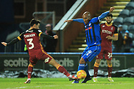 Calvin Andrew shoots during the EFL Sky Bet League 1 match between Rochdale and Bradford City at Spotland, Rochdale, England on 29 December 2018.