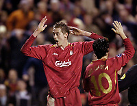 Photo: Jed Wee.<br /> Liverpool v Benfica. UEFA Champions League. 08/03/2006.<br /> <br /> Liverpool's Peter Crouch (L) and Luis Garcia rue a missed opportunity.