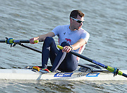 Reading. United Kingdom.  GBR LM1X, Jamie KIRKWOOD, return to the boathouse after winning the A final. 2014 Senior GB Rowing Trails, Redgrave and Pinsent Rowing Lake. Caversham.<br /> <br /> 18:10:10  Saturday  19/04/2014 <br /> <br />  [Mandatory Credit: Peter Spurrier/Intersport<br /> Images]