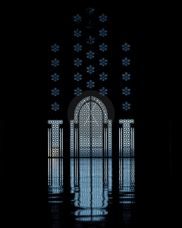 Casablanca, Morocco - 13 January 2019: View of the inside at Hassan II muslim mosque in Casablanca, Morocco.