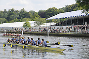 Henley, Great Britain.  Henley Royal Regatta. M8+, University of California, Berkeley, USA [Bucks], lead Harvard University, USA [Berks], as they pass Stewards' Enclosure, in the semi-final, of the Temple Challenge Cup. River Thames Henley Reach.  Royal Regatta. River Thames Henley Reach.  Saturday  02/07/2011  [Mandatory Credit  Intersport Images] . HRR