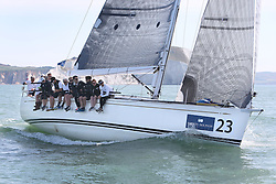 Brewin Dolphin Scottish Series 2014,  an International IRC competition racing on the Solent off Cowes and hosted by the RORC.<br /> <br /> Jamie McGarry and Kevin Sproul onboard the Team Scotland Swan 45, Eala of Rhu during the Offshore race into the Channel.<br /> <br /> Credit.  Marc Turner