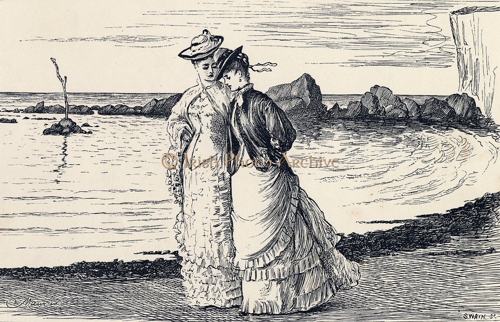 Ladies walking on a beach. Illustration for 'The Hand of Ethelberta', London, 1875, by Thomas Hardy.