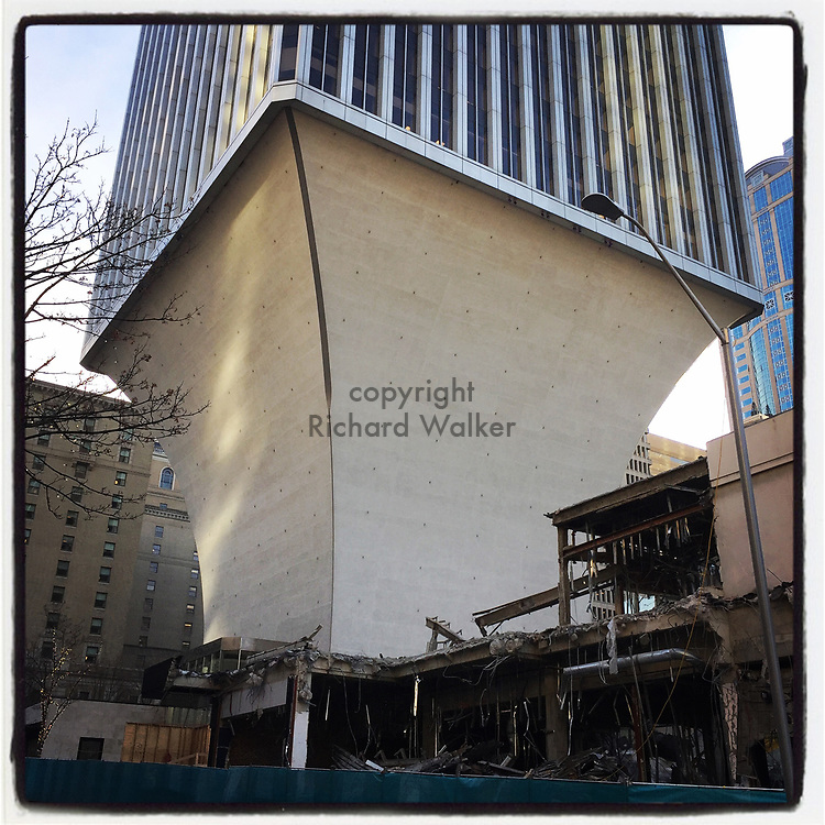 2017 DECEMBER 12 - Denuded base of Rainier Tower building seen from 5th Avenue in downtown Seattle, WA, USA. Taken/edited with Instagram App for iPhone. By Richard Walker