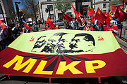 MLKP, Marksist Leninist Komünist Parti. Demonstration by unions and other organisations of workers to mark the annual May Day or Labour Day. Groups from all nationalities from around the World, living in London gathered to march to a rally in central London, UK.