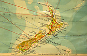 Old vintage school classroom wall map chart of New Zealand