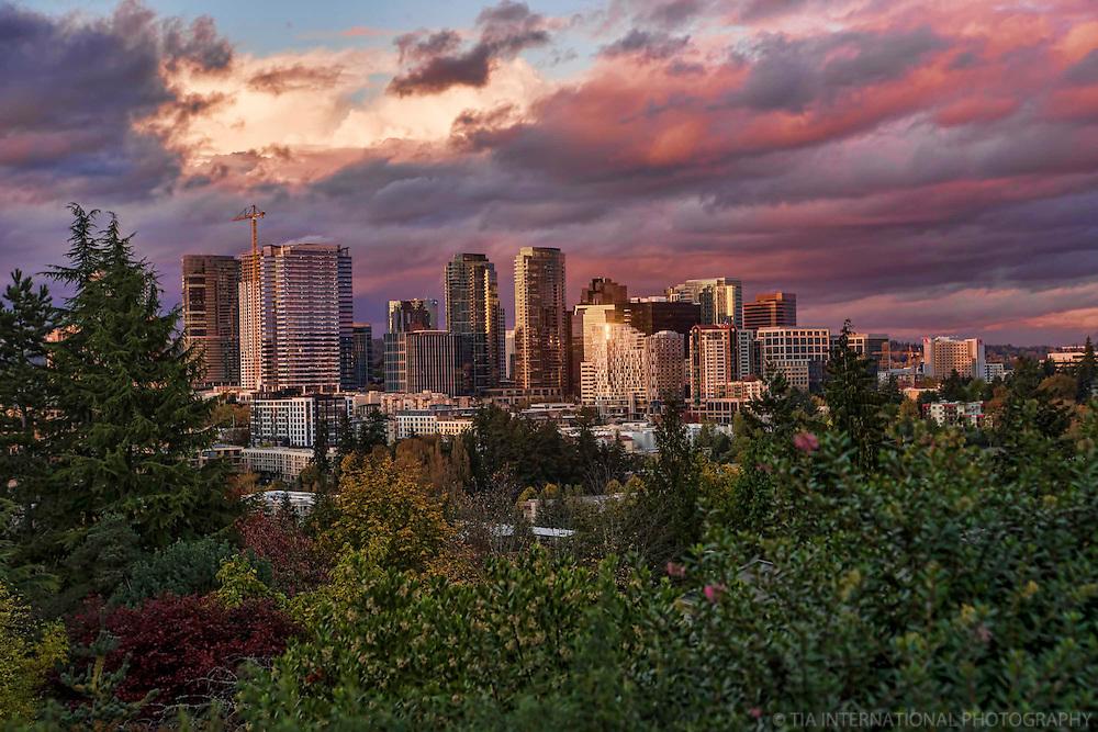 Downtown Bellevue near Sunset