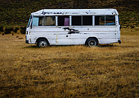 NATIONAL PARK TORRES DEL PAINE, CHILE - CIRCA FEBRUARY 2019: Abandoned bus in Torres del Paine National Park, Chile.