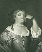 Anne Hyde, Duchess of York (1637-1671), first wife of James II when he was still Duke of York: mother of Mary II and Queen Anne. Engraving after portrait by Peter Lely.