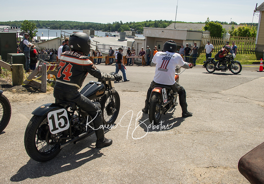 Pete Mindardi on a 1939 Indian Scout waits for his start in the Tower Hill Climb at Weirs Beach Tuesday.  (Karen Bobotas/for the Laconia Daily Sun)