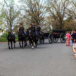Arlington, VA - April 11, 2013: Members of the public watch as US Army soldiers ride on horses pulling a caisson through the military cemetery.