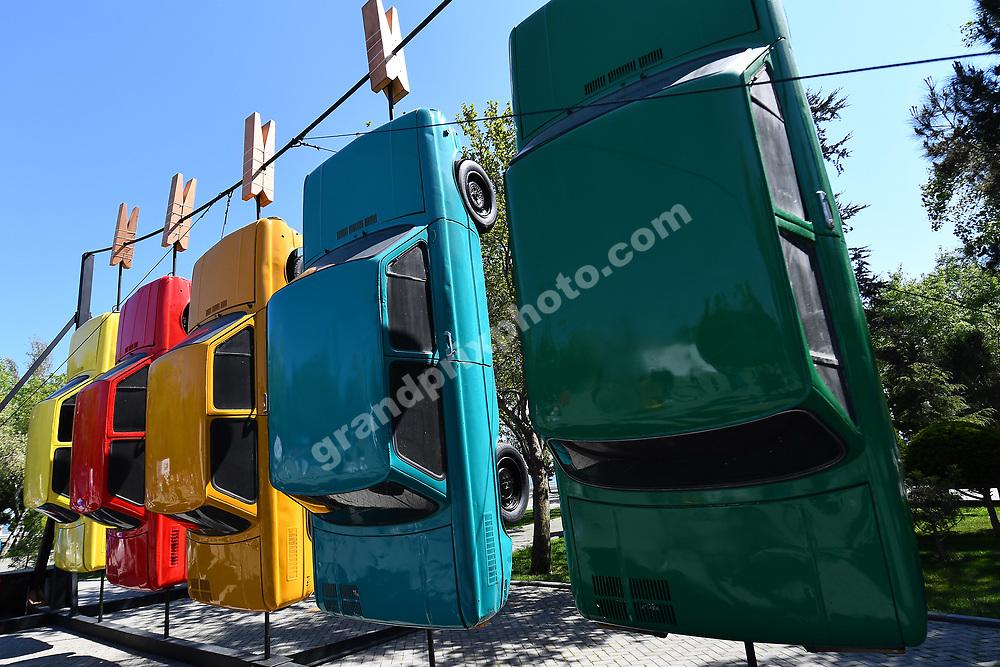 Art with old cars at the 2019 Azerbaijan Grand Prix in Baku. Photo: Grand Prix Photo
