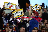 French fans celebrating during the Rugby World Cup Pool D match between France and Romania at the Queen Elizabeth II Olympic Park, London, United Kingdom on 23 September 2015. Photo by Matthew Redman.