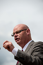 Steve Gillan, Prison Officers' Association General Secretary, speaking at the 130th Miners' Gala in Durham 2014