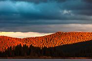 Autumn sunset at Shiroka Polyana lake