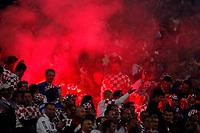 Photo: Richard Lane.<br />Croatia v England. UEFA European Championships 2008 Qualifying. 11/10/2006. <br />Croatian fans light flares to celbrate a goal.
