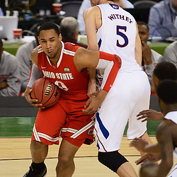 Mar 31, 2012; New Orleans, LA, USA; Ohio State Buckeyes forward Jared Sullinger (0) drives past Kansas Jayhawks center Jeff Withey (5) during the second half in the semifinals of the 2012 NCAA men's basketball Final Four at the Mercedes-Benz Superdome. Mandatory Credit: Derick E. Hingle-US PRESSWIRE