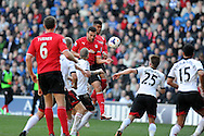 Cardiff city's Steven Caulker © scores his sides 2nd goal with a header. Barclays Premier league, Cardiff city v Fulham at the Cardiff city Stadium in Cardiff , South Wales on Sat 8th March 2014. pic by Andrew Orchard, Andrew Orchard sports photography