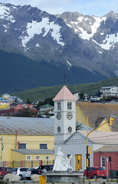The old Catholic  Parish Church of Ushuaia. It was built in 1898 and is now a  National Historic Monument. Ushuaia, Republic of Argentina. 12Feb16
