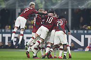 AC Milan players celebrate after Zlatan Ibrahimovic scored to give the side a 2-0 lead during the Serie A match at Giuseppe Meazza, Milan. Picture date: 9th February 2020. Picture credit should read: Jonathan Moscrop/Sportimage