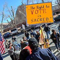 012615  Adron Gardner/Independent<br /> <br /> Protestors collect outside the Navajo Nation Tribal Council chambers in Window Rock Monday.