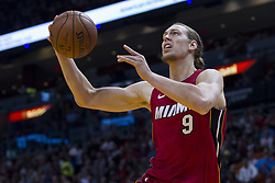 January 14, 2018 - Miami, FL, USA - Miami Heat forward Kelly Olynyk (9) tries to score in the first quarter against the Milwaukee Bucks on Sunday, Jan. 14, 2018 at the AmericanAirlines Arena in Miami, Fla. (Credit Image: © Matias J. Ocner/TNS via ZUMA Wire)