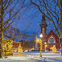 Holiday Lights at the Natick Center Historic District and Natick Common Town Center with First Congressional Church painted in beautiful blue hour light at night. Natick is part of the Metro West region of Massachusetts and is only 10 miles west of Boston.<br /> <br /> Photography images of Natick Center Historic District and Natick Common are available as museum quality photography prints, canvas prints, acrylic prints or metal prints. Prints may be framed and matted to the individual liking and decorating needs: <br /> <br /> https://juergen-roth.pixels.com/featured/christmas-lights-at-the-natick-center-historic-district-and-natick-common-town-center-juergen-roth.html<br /> <br /> Good light and happy photo making! <br /> <br /> My best, <br /> <br /> Juergen