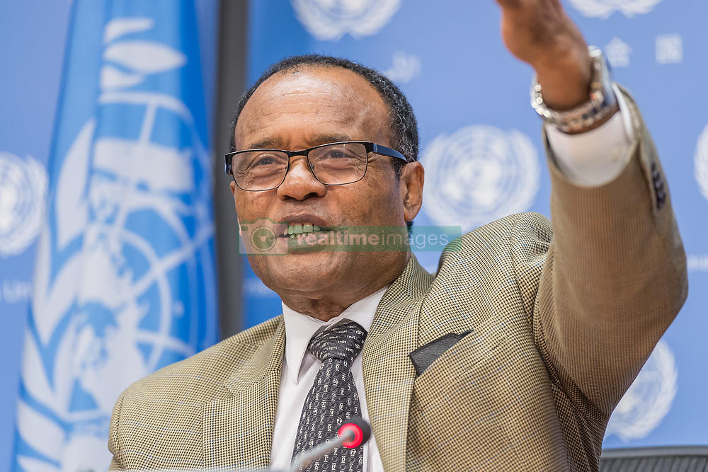 September 1, 2017 - New York, NY, United States - Following closed-door United Nations Security Council consultations, Ambassador Tekeda Alemu, Permanent Representative of Ethiopia and Council President for the month of September, held a press briefing at UN Headquarters to discuss the Council's schedule. (Credit Image: © Albin Lohr-Jones/Pacific Press via ZUMA Wire)
