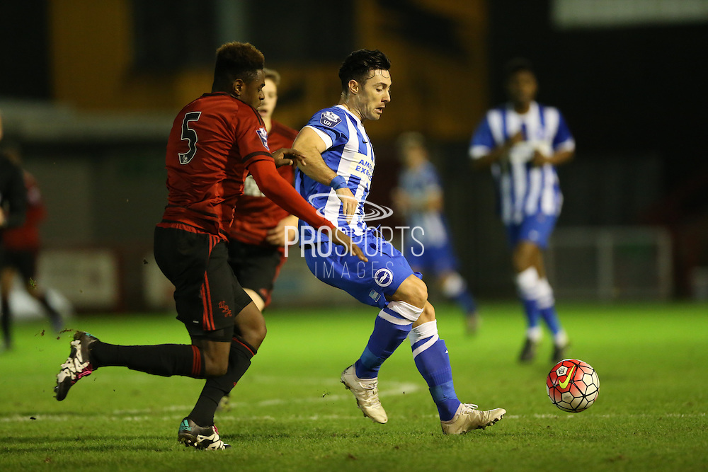 Richie Towell, Brighton striker beats Nathaniel Oseni, West Bromwich Albion defender to the ball during the Barclays U21 Premier League match between Brighton U21 and U21 West Bromwich Albion at the Checkatrade.com Stadium, Crawley, England on 25 January 2016.