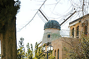 "Israel, Jerusalem, ""New City"" The windmill at Yemin Moshe, first Jewish residence built outside Old City walls is named after Sir Moses Montefiore who established the neighborhood. The windmill was erected by Moshe Moses Montefiore in 1857 for grinding grain into flour"