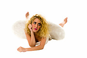 innocent female angel On white Background