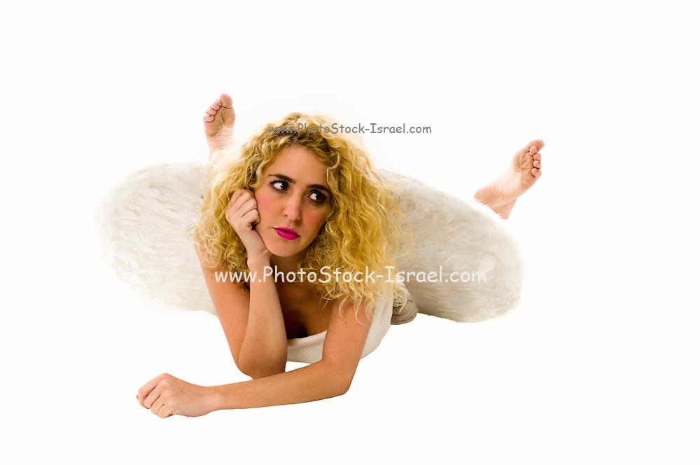 innocent female angel On white Background