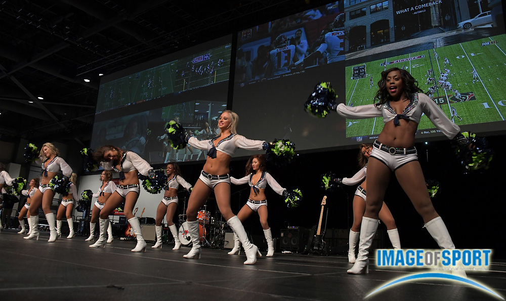 Sep 11, 2016; Seattle, WA, USA; Seattle Seahawks sea gals cheerleaders perform during a NFL game against the Miami Dolphins at CenturyLink Field.