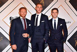 (From left to right) Jonny Bairstow, Stuart Broad and Chris Woakes during the red carpet arrivals for the BBC Sports Personality of the Year 2018 at The Vox at Resorts World Birmingham.