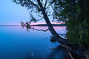 It's a beautiful pink sunrise coming up over Lane Cove! Unfortunately, it means that it will rain later in the day. Isle Royale National Park, Lake Superior, Michigan, USA