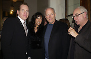 Bret Easton Ellis, Polly and David Gilmour and Don Boyd. Party for Bret Easton Ellis's book 'Lunar Park'  given by Geordie Greig. Home House. Portman Sq. London.  London. 5 October 2005. . ONE TIME USE ONLY - DO NOT ARCHIVE © Copyright Photograph by Dafydd Jones 66 Stockwell Park Rd. London SW9 0DA Tel 020 7733 0108 www.dafjones.com
