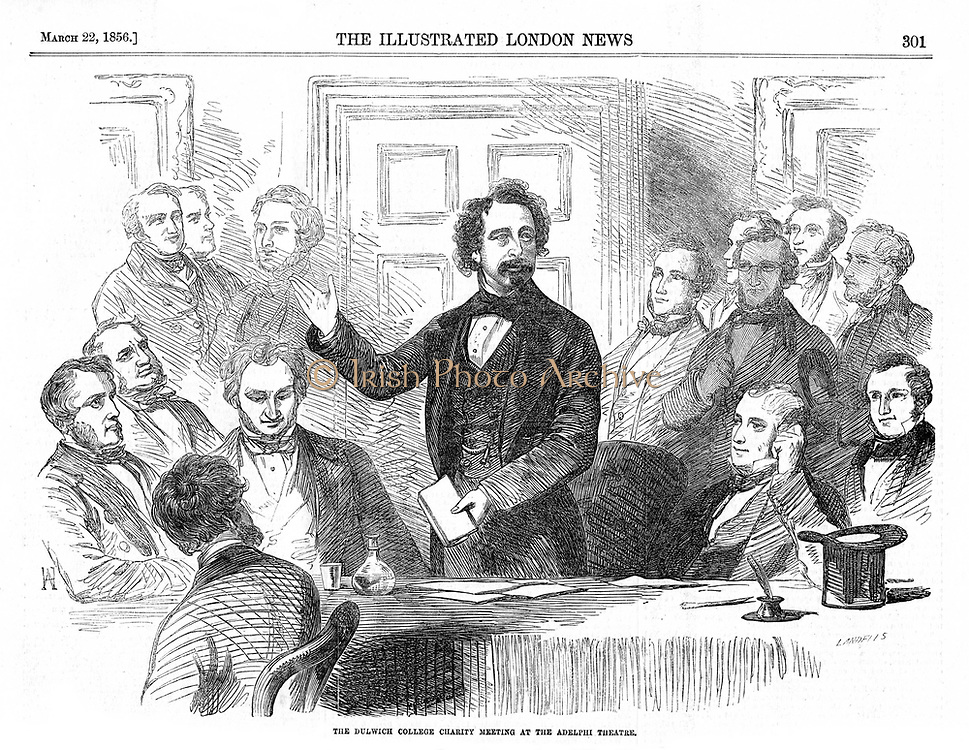Charles Dickens (1812-70) English novelist and journalist speaking at a Dulwich College Charity meeting.  From 'The llustrated London News, 22 March 1856.