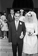 28/07/1962<br /> 07/28/1962<br /> 28 July 1962 <br /> Wedding of Mr Desmond F. English, Landscape Cresent, Churchtown and Miss Blanche O'Brien Oakley Park, Blackrock at St John the Baptist Church, Blackrock and Ross's Hotel Dun Laoghaire, Dublin. Image shows the bride and groom leaving the church after the ceremony.