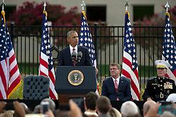 Remember 9/11: US Pr‰sident Barack Obama bei einer Gedenkveranstaltung am Pentagon<br /> <br /> / 110916<br /> <br /> *** U.S President Barack Obama speaks during a remembrance ceremony commemorating the 15th anniversary of the 9/11 terrorist attacks at the Pentagon September 11, 2016 in Arlington, Virginia.  ***