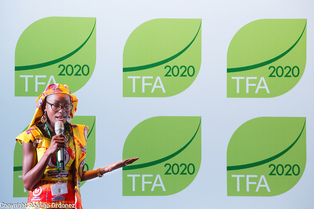 Hindou Oumarou Ibrahim, Coordinator of the Association for Indigenous Women and Peoples of Chad (AFPAT), makes closing remarks at the General Assembly of the Tropical Forest Alliance 2020 in Jakarta, Indonesia, on March 11, 2016. <br /> (Photo: Rodrigo Ordonez)