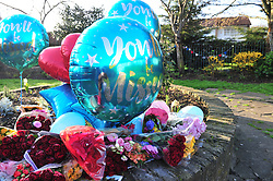 © Licensed to London News Pictures.16/04/2018<br /> HITHER GREEN, UK.<br /> Lewisham council employees have removed flowers and balloons for Henry Vincent to a local community garden from outside Richard Osborn-Brooks home. The flowers have a police guard watching over them.<br />  Hither Green Burglary Murder. South Park Crescent,Hither Green.<br />  Home of 78 year old Richard Osborn-Brooks who stabbed a burglar to death in his home.<br /> Photo credit: Grant Falvey/LNP