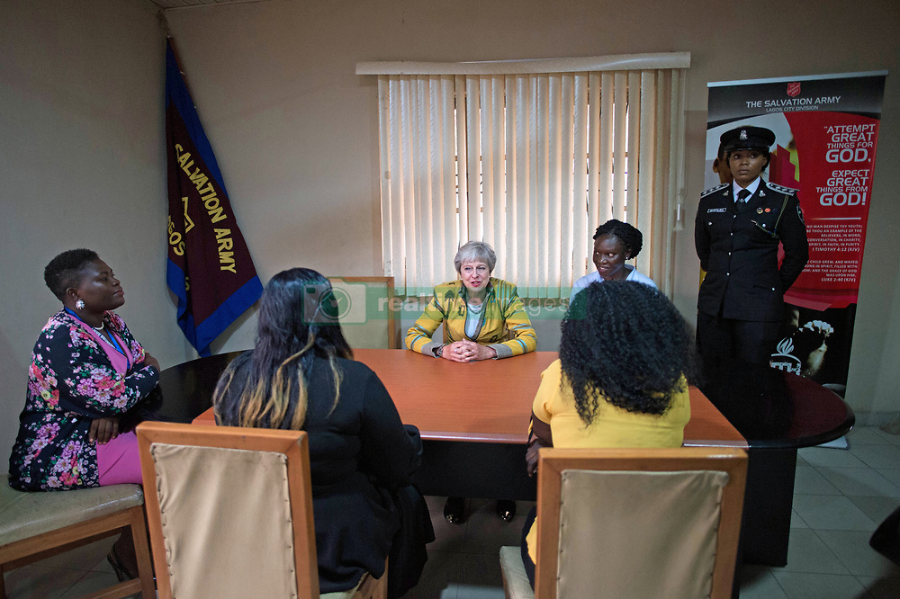 Prime Minister Theresa May meets two victims of modern slavery (identity protected) at a Salvation Army centre in Lagos, where she discussed modern slavery and saw the work they are doing to make Nigerians more aware of the threats of slavery, on day two of her trip to Africa.