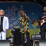 London, UK. 21th July, 2019. Dennis Alcapone perfroms at the Lambeth Country Show 2019 a family festival with live music food & drinks, Arts and Culture and animal show at Brockwell Park, London.
