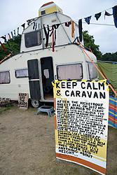 Latitude Festival, Henham Park, Suffolk, UK July 2019. Keep Calm and Caravan in the Trailer Park