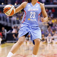 08 August 2014: Atlanta Dream guard Shoni Schimmel (23) dribbles during the Los Angeles Sparks 80-77 overtime win over the Atlanta Dream, at the Staples Center, Los Angeles, California, USA.