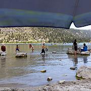 The June Lake beach in June Lake, just north of Mammoth Lakes, CA.